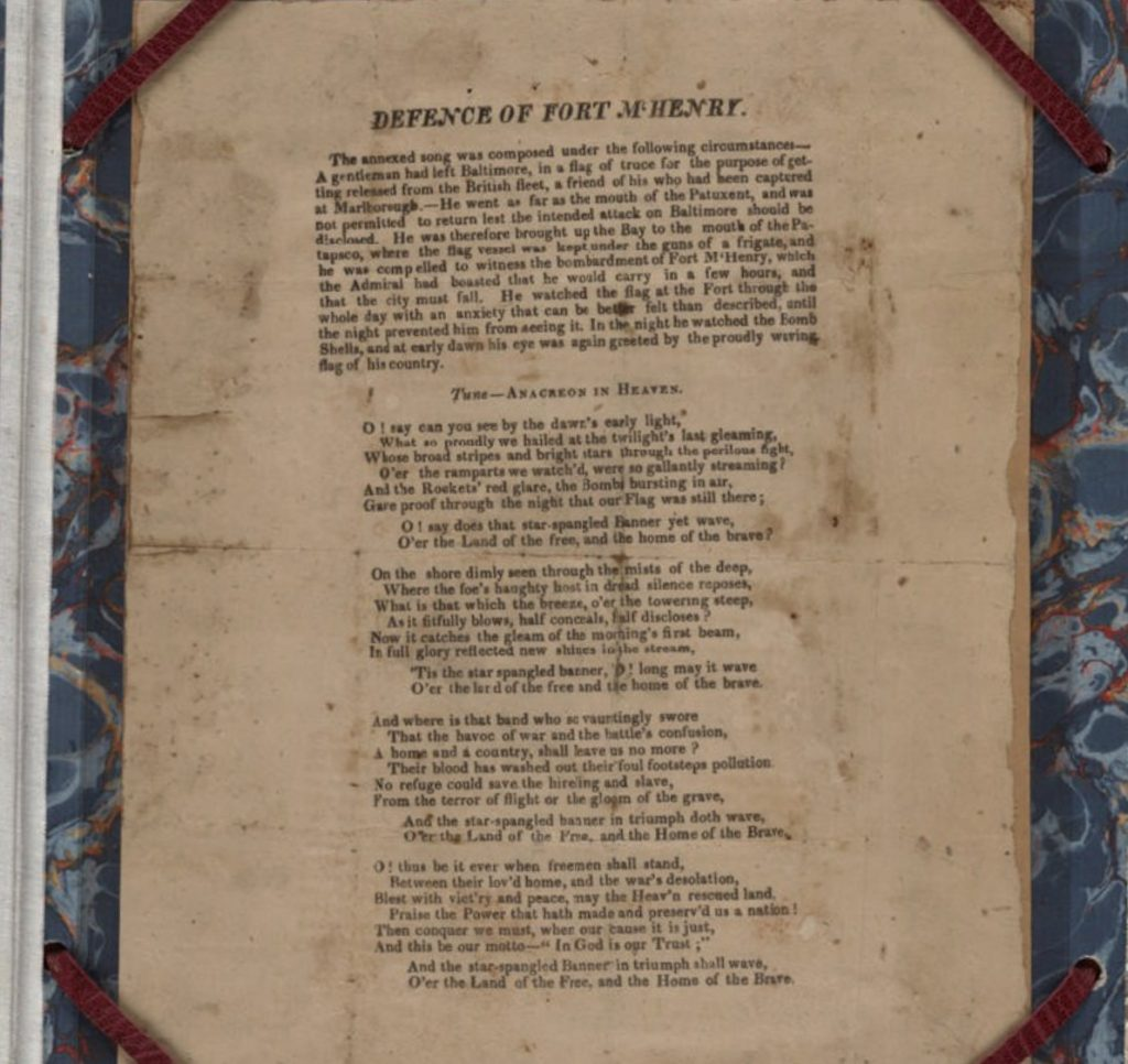Defence of Fort M'Henry - First Printing 1814