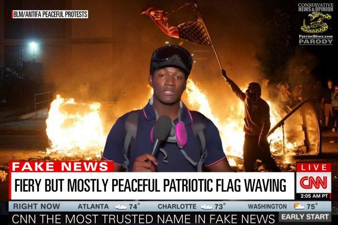 CNN Fiery But Mostly Peaceful Patriotic Flag Waving