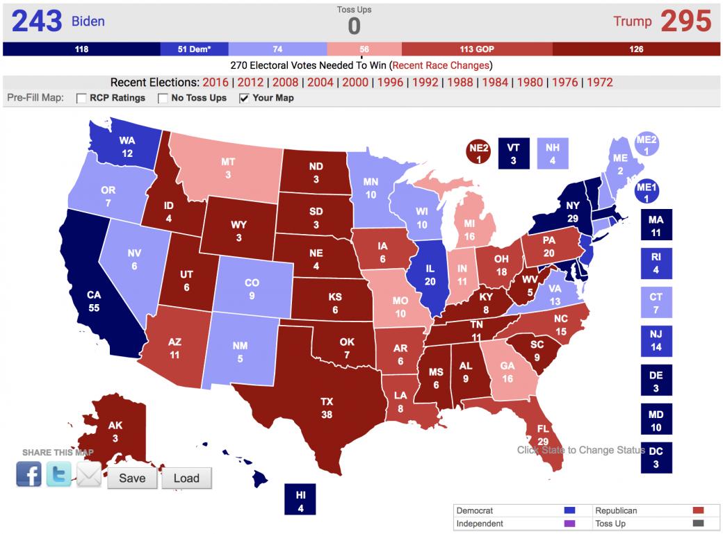 Real Clear Politics Map 295 Trump