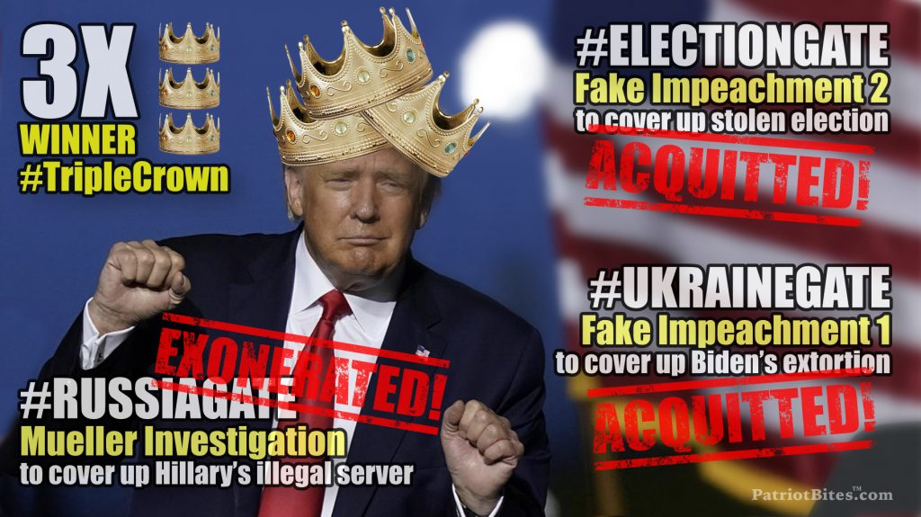 Donald Trump Acquitted Again #Electiongate #Ukrainegate #Russiagate #TripleCrown