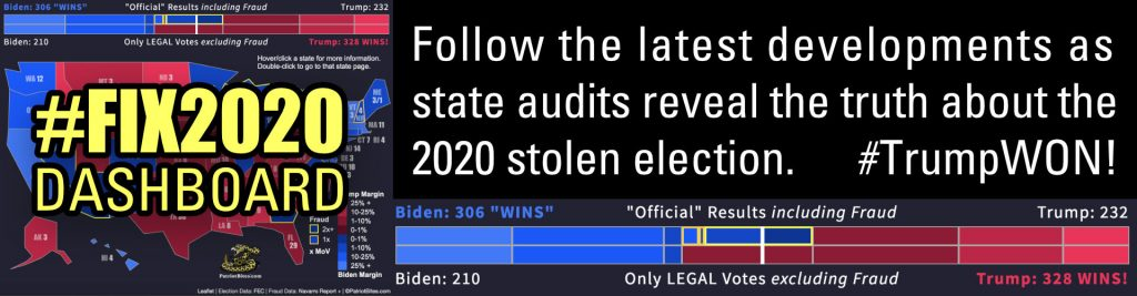 #Fix2020 DASHBOARD Follow the latest developments as state audits reveal the truth about the 2020 stolen election. #TrumpWON!