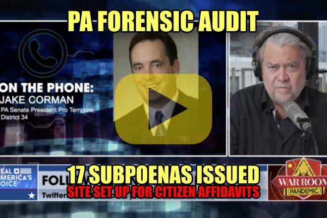 PA Forensic Audit 17 Subpoenas Iussued Site Set up for Citizen Affidavits